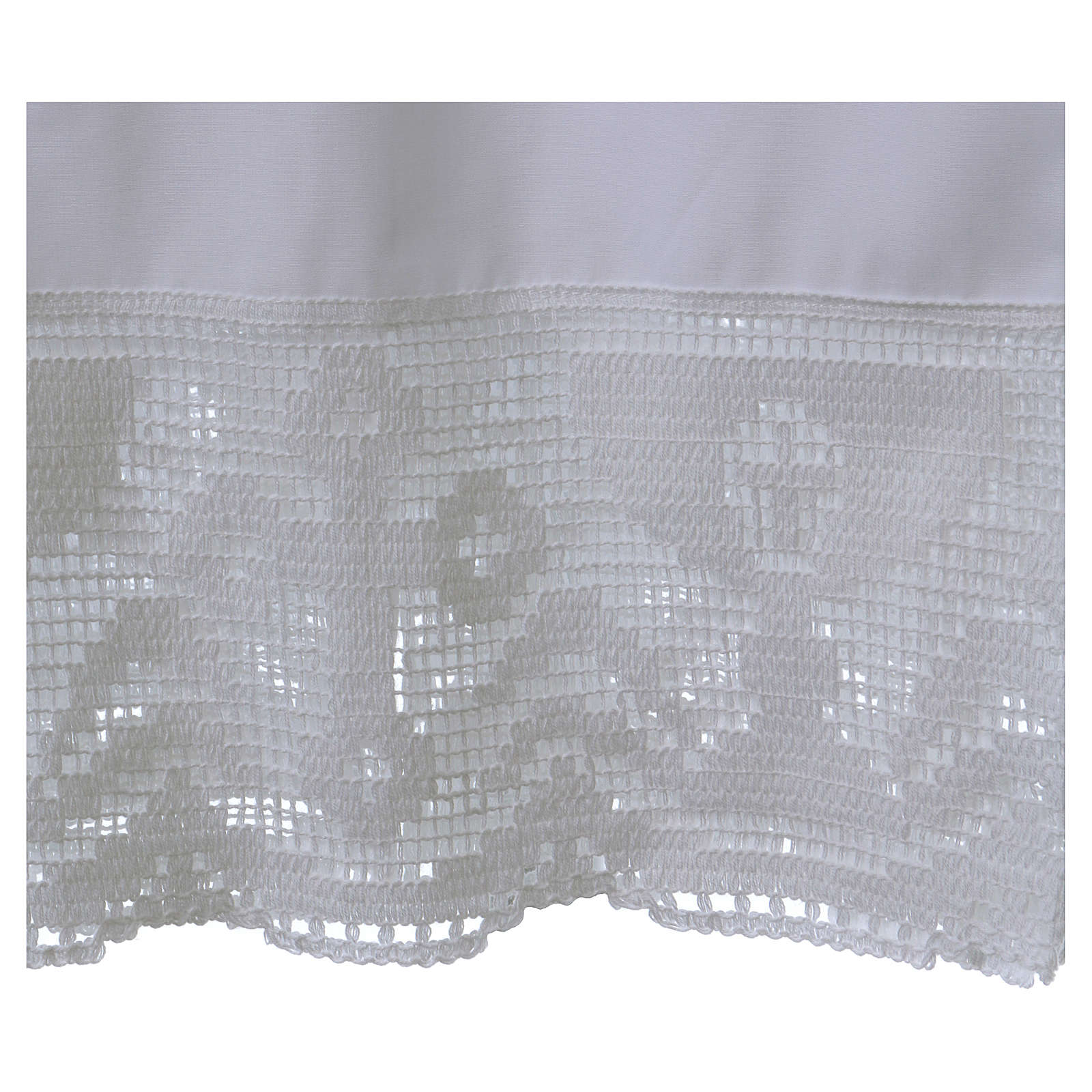 Cotton Alb with folds and chalice crochet on bottom and sleeves 4