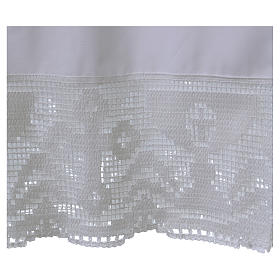 Cotton Alb with folds and chalice crochet on bottom and sleeves s2