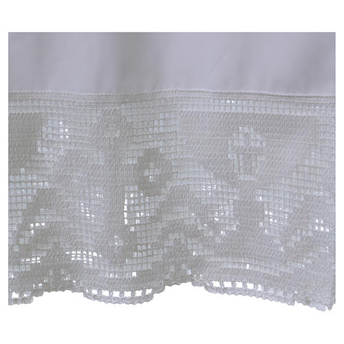 Cotton Alb with folds and chalice crochet on bottom and sleeves 2