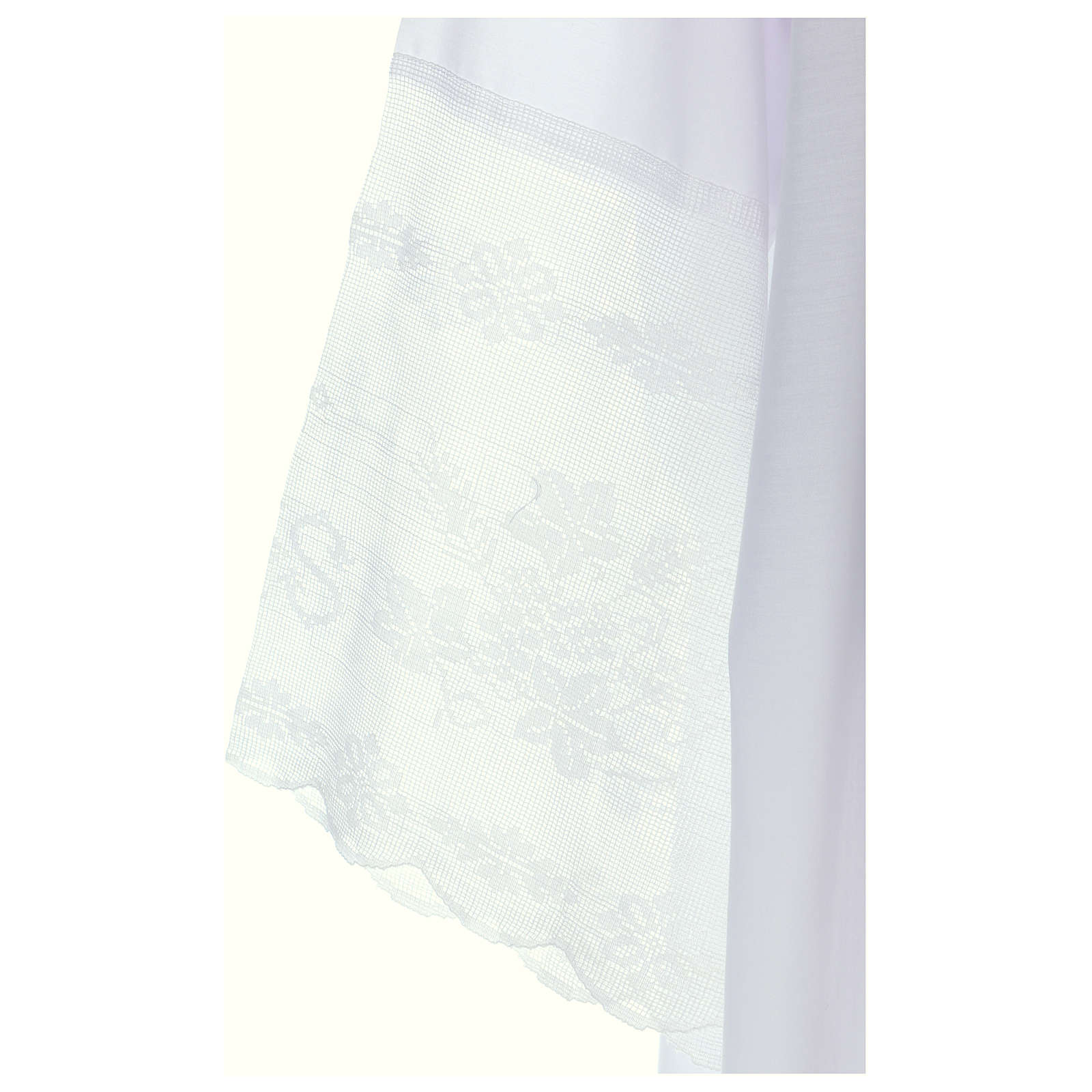Alb in cotton blend with square neckline, goffer and IHS lace 4