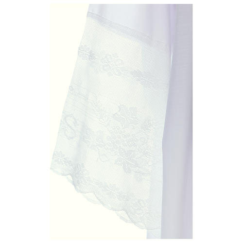Alb in cotton blend with square neckline, goffer and IHS lace 3