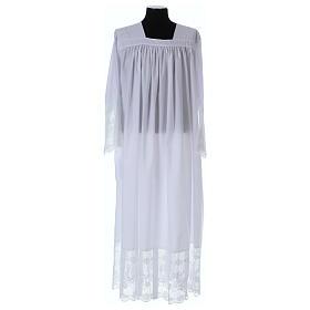 Alba tejido mixto algodón cuello cuadrado y encaje s1