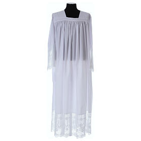 Cotton blend Priest Alb with square-neck and IHS lace s1