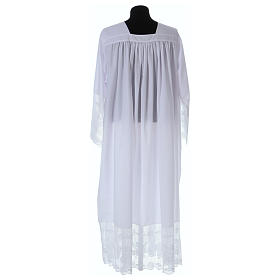 Cotton blend Priest Alb with square-neck and IHS lace s4