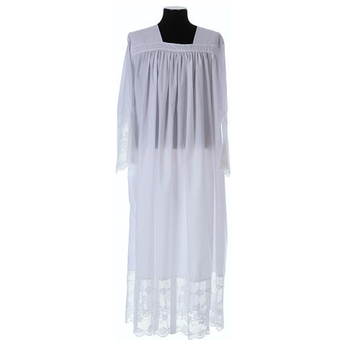Cotton blend Priest Alb with square-neck and IHS lace 1