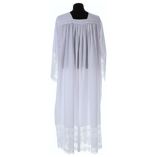 Cotton blend Priest Alb with square-neck and IHS lace 4