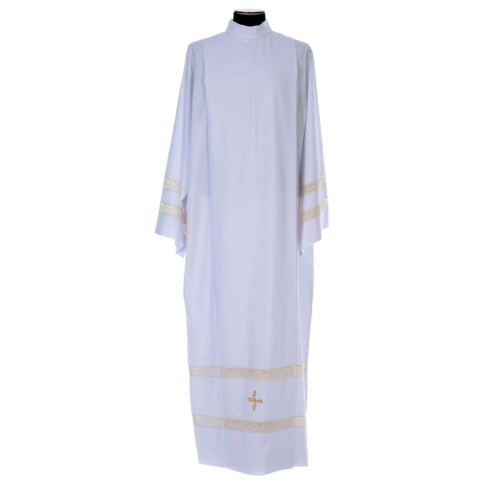 Camice tela Vaticana doppio tramezzo croce ricamata 4