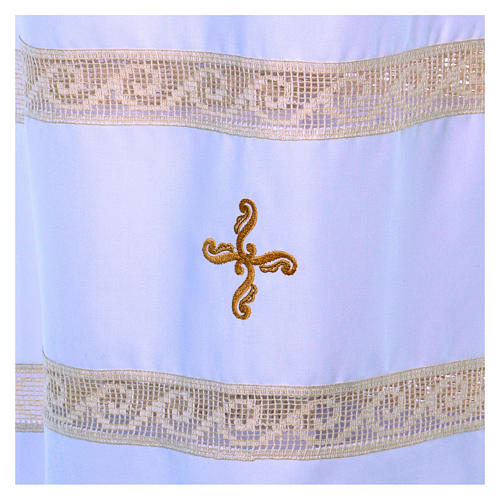 Camice tela Vaticana doppio tramezzo croce ricamata 3