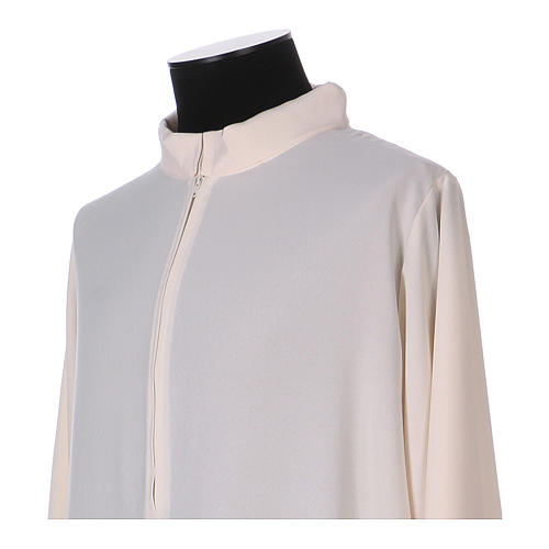 Surplice with turned up neck, flared, ivory colour light model 2