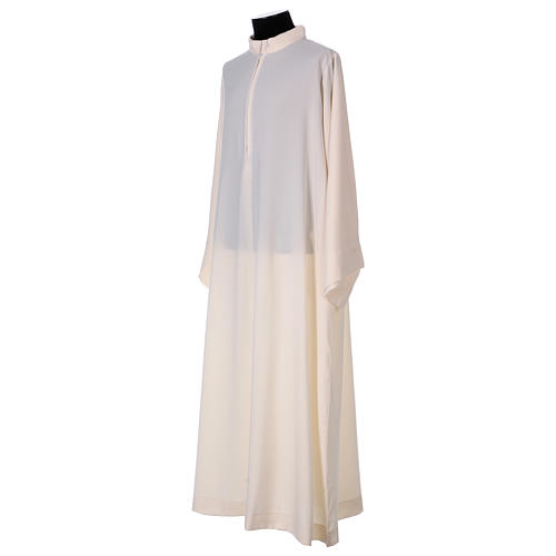 Surplice with turned up neck, flared, ivory colour light model 3