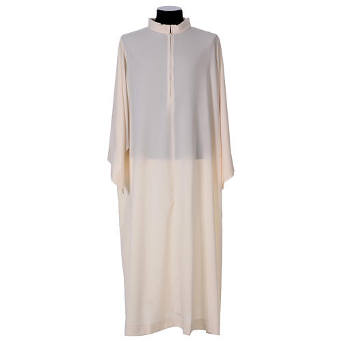 Surplice with turned up neck, flared, ivory colour light model 1