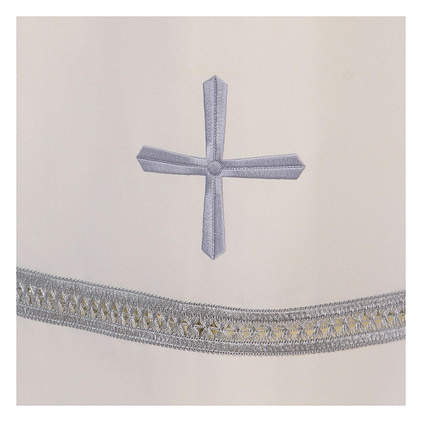 Alba poliester zamek z przodu kość słoniowa koronka hafty maszynowe 4
