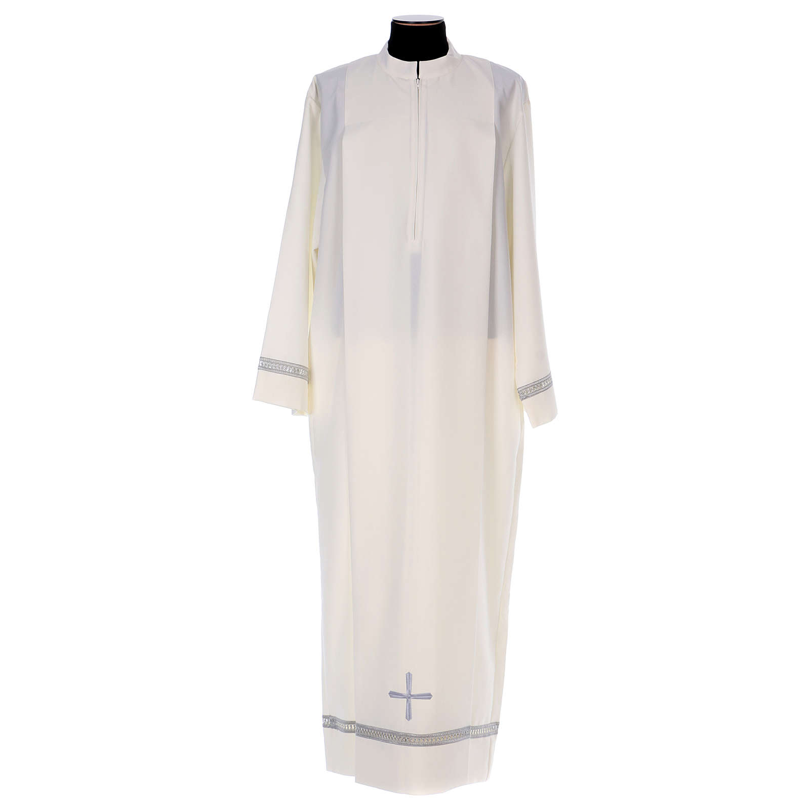 Deacon Alb in polyester with gigliuccio hemstitch and front zipper, ivory 4