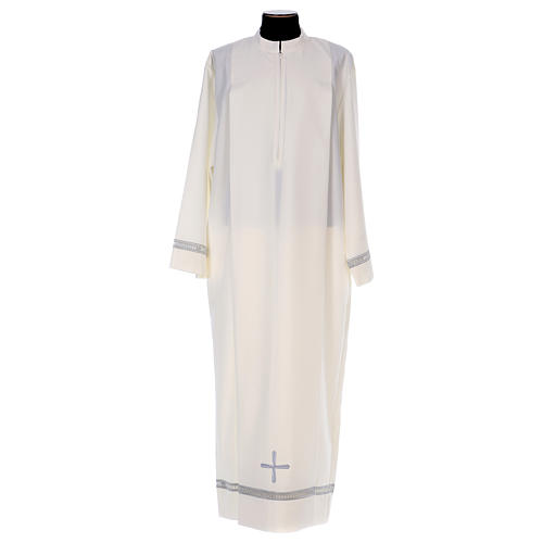 Deacon Alb in polyester with gigliuccio hemstitch and front zipper, ivory 1