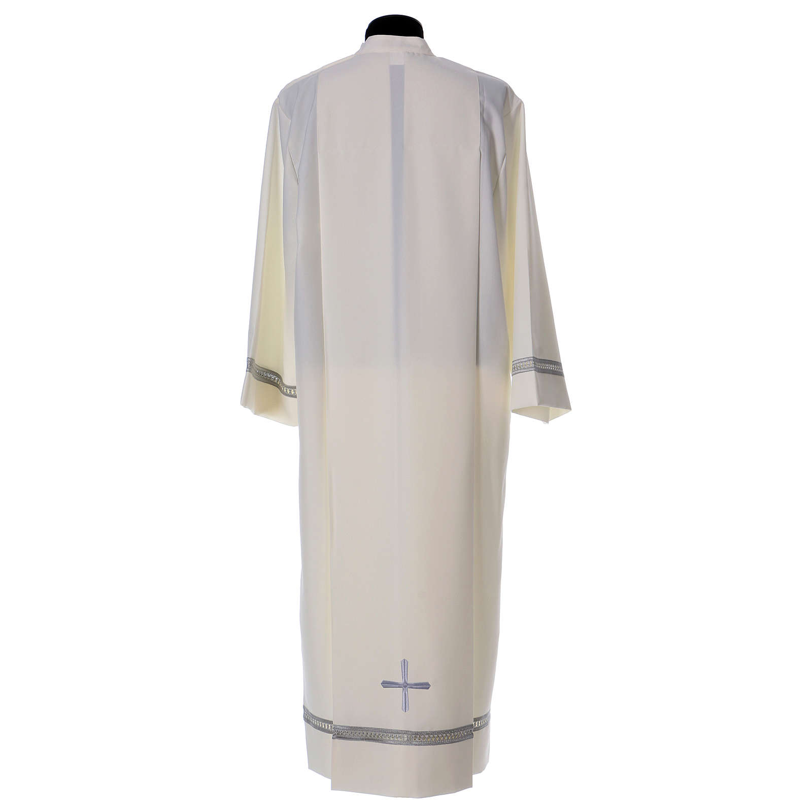 Alb in polyester with gigiluccio hemstitch and shoulder zipper, ivory 4