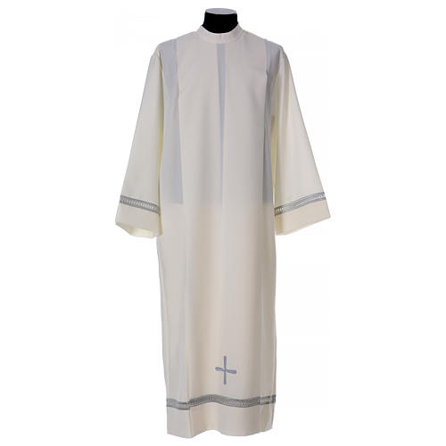 Alb in polyester with gigiluccio hemstitch and shoulder zipper, ivory 1