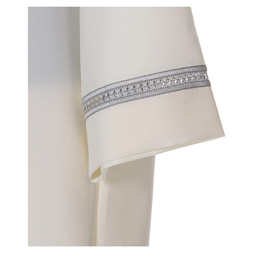 Alb in polyester with gigiluccio hemstitch and shoulder zipper, ivory 3