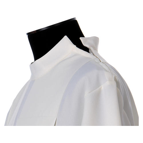 Alb in polyester with gigiluccio hemstitch and shoulder zipper, ivory 6