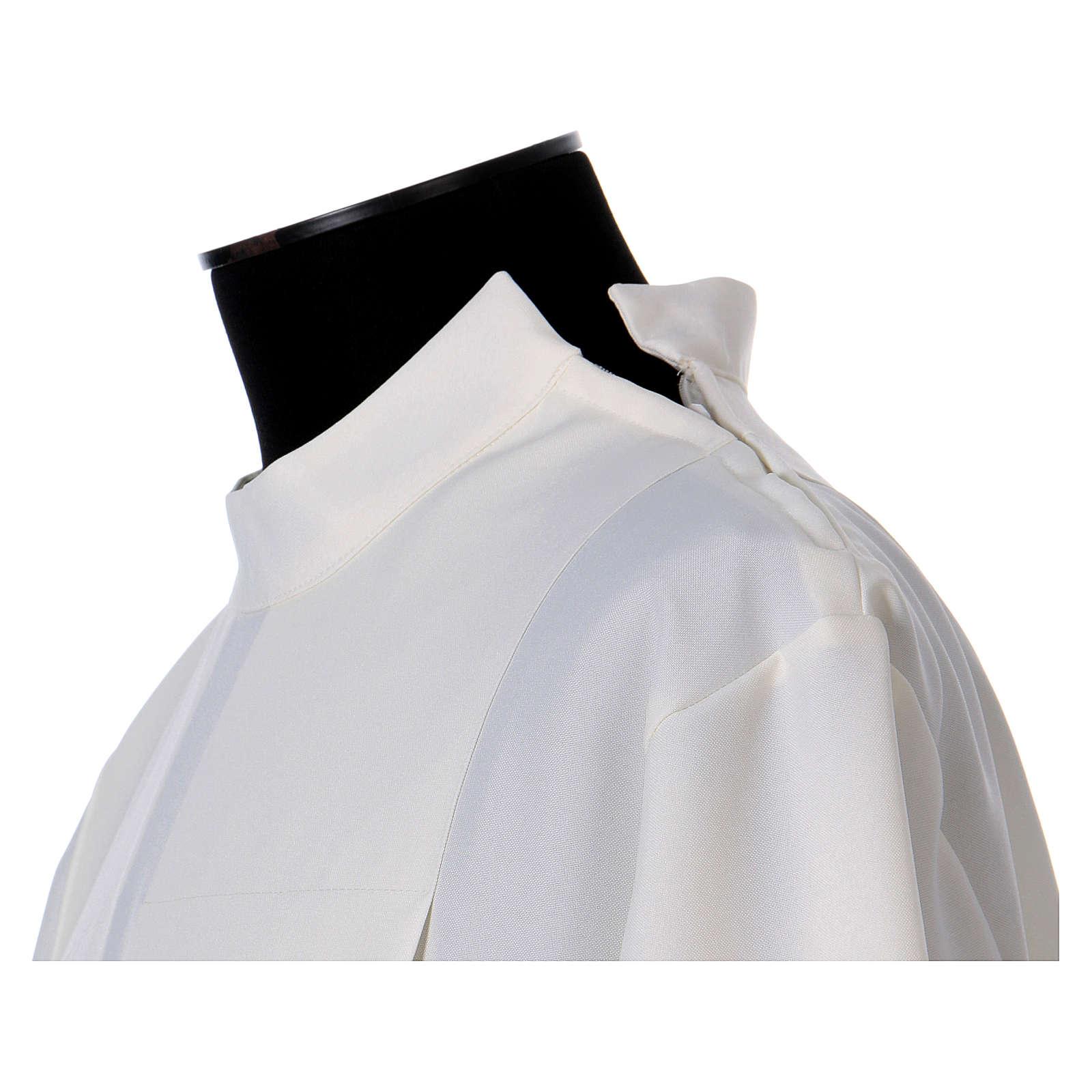 Aube polyester fermeture épaule ivoire ourlet à jour broderies machine 4