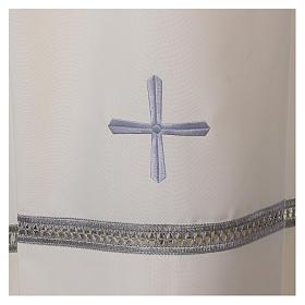 Aube polyester fermeture épaule ivoire ourlet à jour broderies machine s2