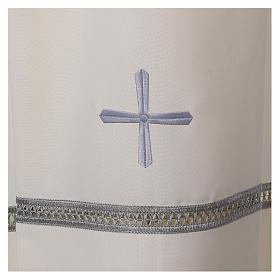 Catholic Alb with Shoulder Zipper in polyester with gigliuccio hemstitch,ivory s2