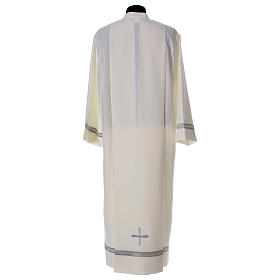 Catholic Alb with Shoulder Zipper in polyester with gigliuccio hemstitch,ivory s5