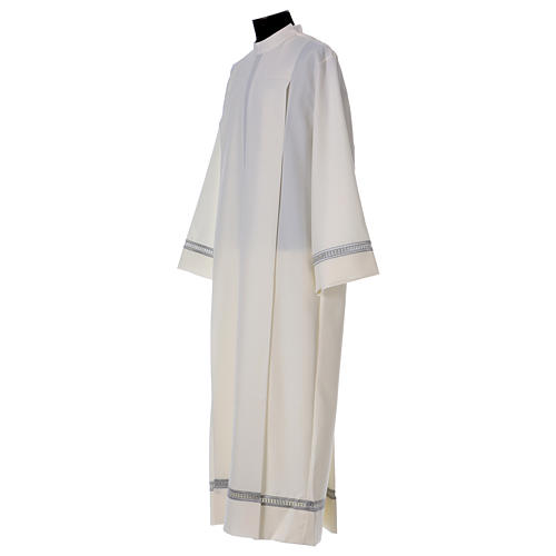 Catholic Alb with Shoulder Zipper in polyester with gigliuccio hemstitch,ivory 4