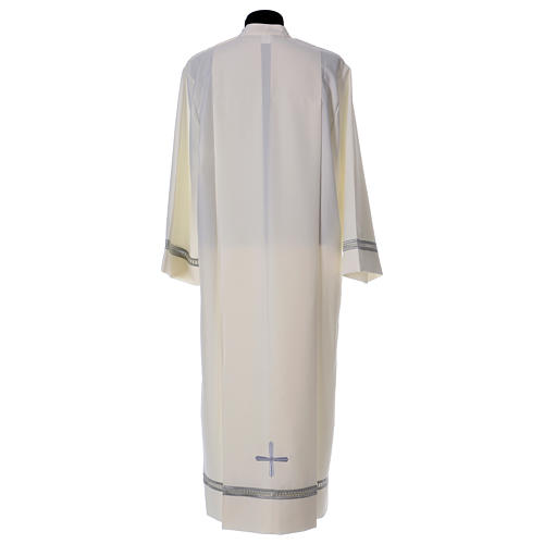 Catholic Alb with Shoulder Zipper in polyester with gigliuccio hemstitch,ivory 5