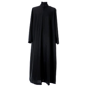 Black cassock with concealed zipper s1