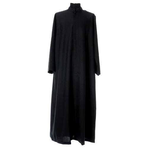 Black cassock with concealed zipper 1