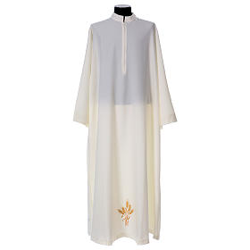 Albs: Alb 100% polyester flared with stand-up collar and ears of wheat embroidery