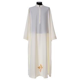 Albas litúrgicas: Alba 100% poliéster abocinada cuello bordado espigas