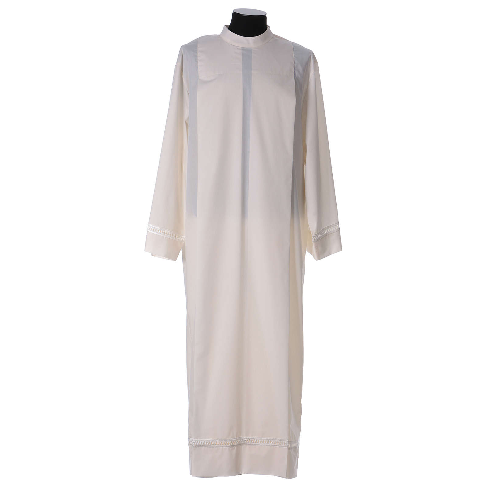 Alb with peahole stitch and shoulder zipper in ivory 65% polyester, 35% cotton 4