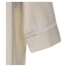 Alb 100% polyester ivory colour with peahole stitch and zip on shoulder s3