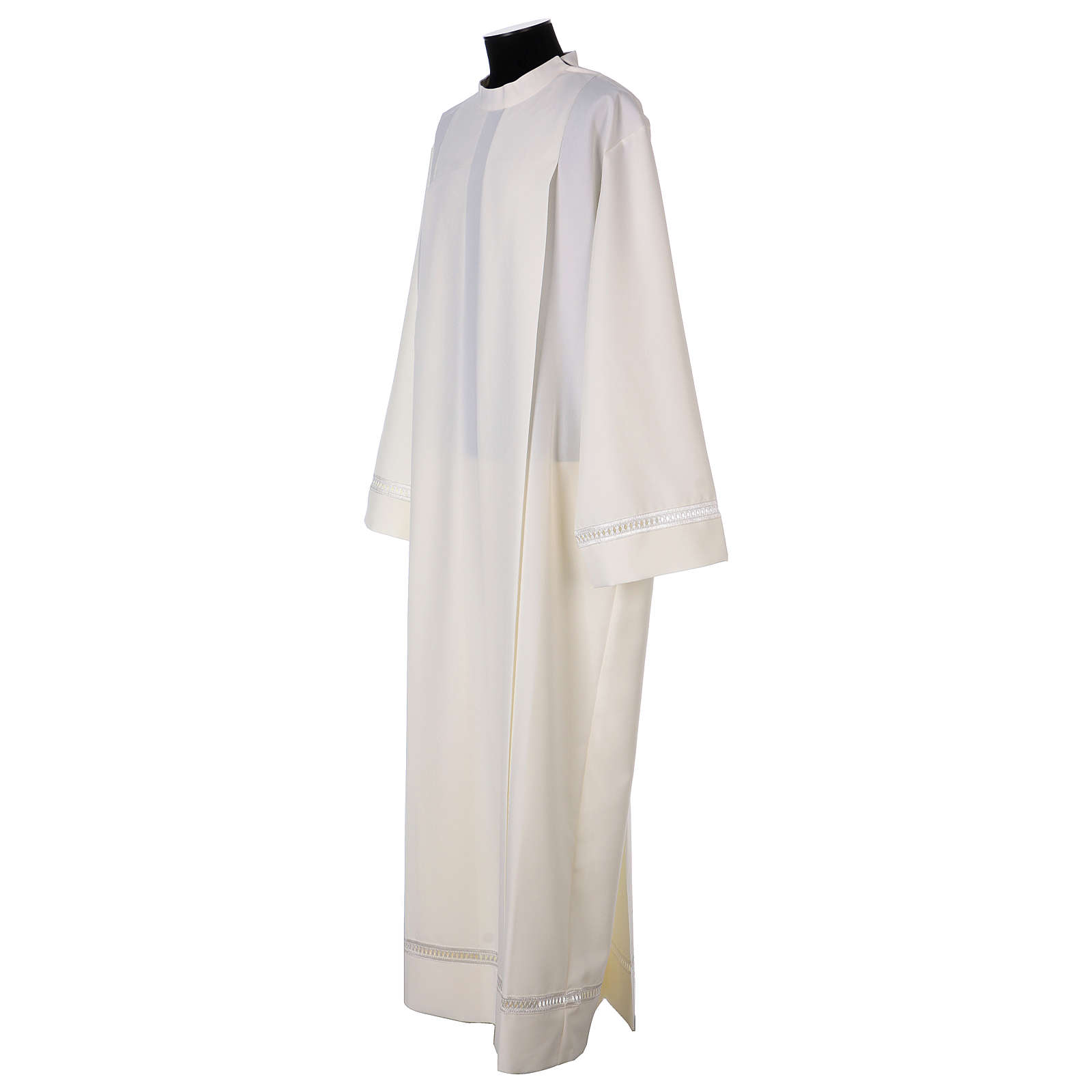 Catholic Alb 100% polyester ivory color with peahole stitch and zip on shoulder 4