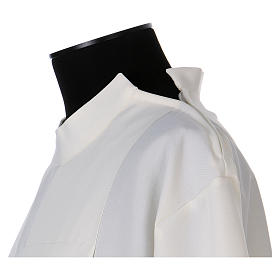 Catholic Alb 100% polyester ivory color with peahole stitch and zip on shoulder s5