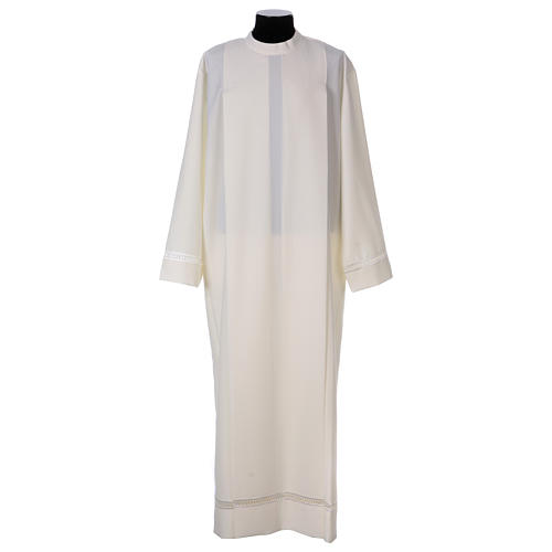 Catholic Alb 100% polyester ivory color with peahole stitch and zip on shoulder 1