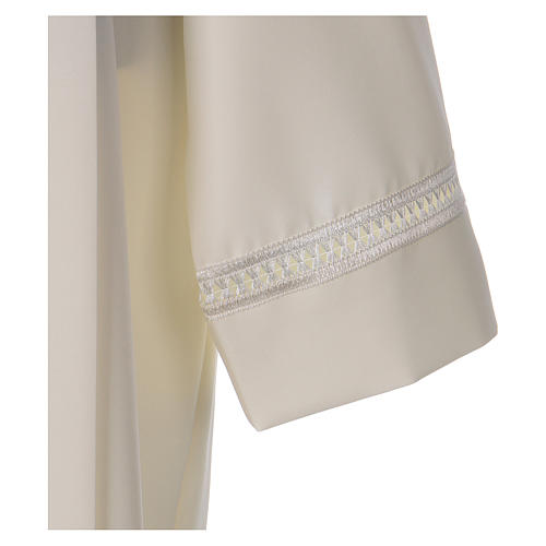 Catholic Alb 100% polyester ivory color with peahole stitch and zip on shoulder 3