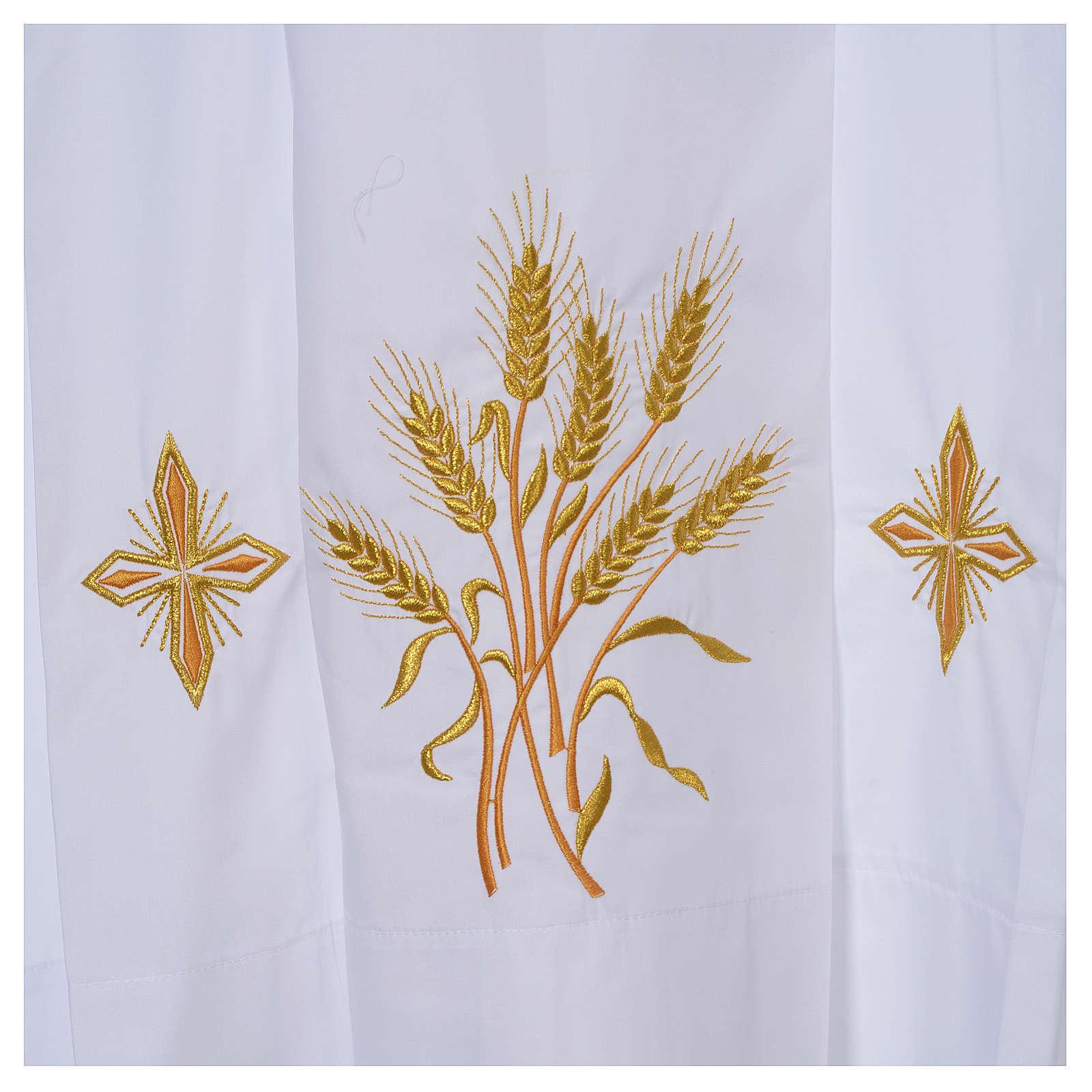 Camice bianco 100% pol. grano e croci cerniera spalla 4 piegoni 4