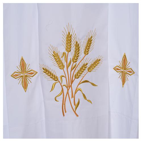 Camice bianco 100% pol. grano e croci cerniera spalla 4 piegoni 2