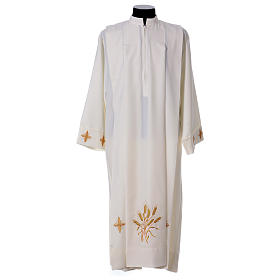 Albs: Alb with Shoulder Zipper 100% polyester with ears of wheat ,crosses and 4 folds in ivory