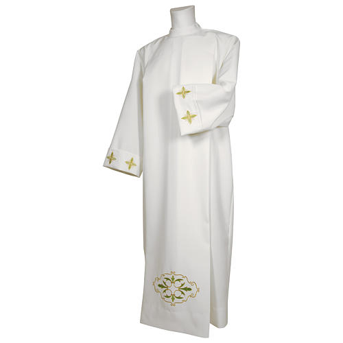 Alb with stylized cross and shoulder zipper 100% polyester 1
