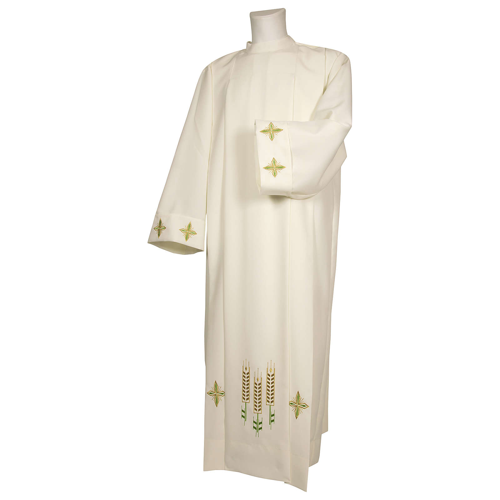 Ivory alb 100% polyester with ears of wheat decoration and zip on the front 4