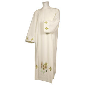 Ivory alb 100% polyester with ears of wheat decoration and zip on the front s1