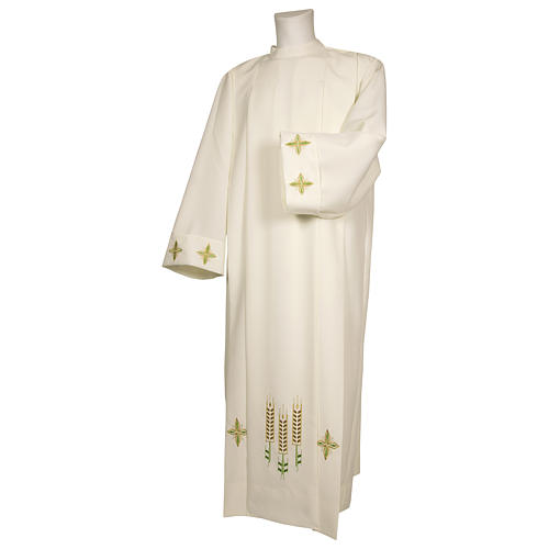 Ivory alb 100% polyester with ears of wheat decoration and zip on the front 1