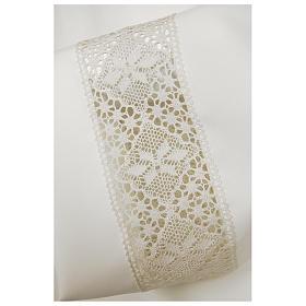 Alba biała 65% poliester 35% bawełna dekoracje na rękawie koronka zamek z przodu s2