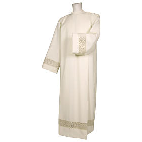 Ivory alb 100% polyester with decoration on the sleeve and lace and crochet partition with zip on the front s1