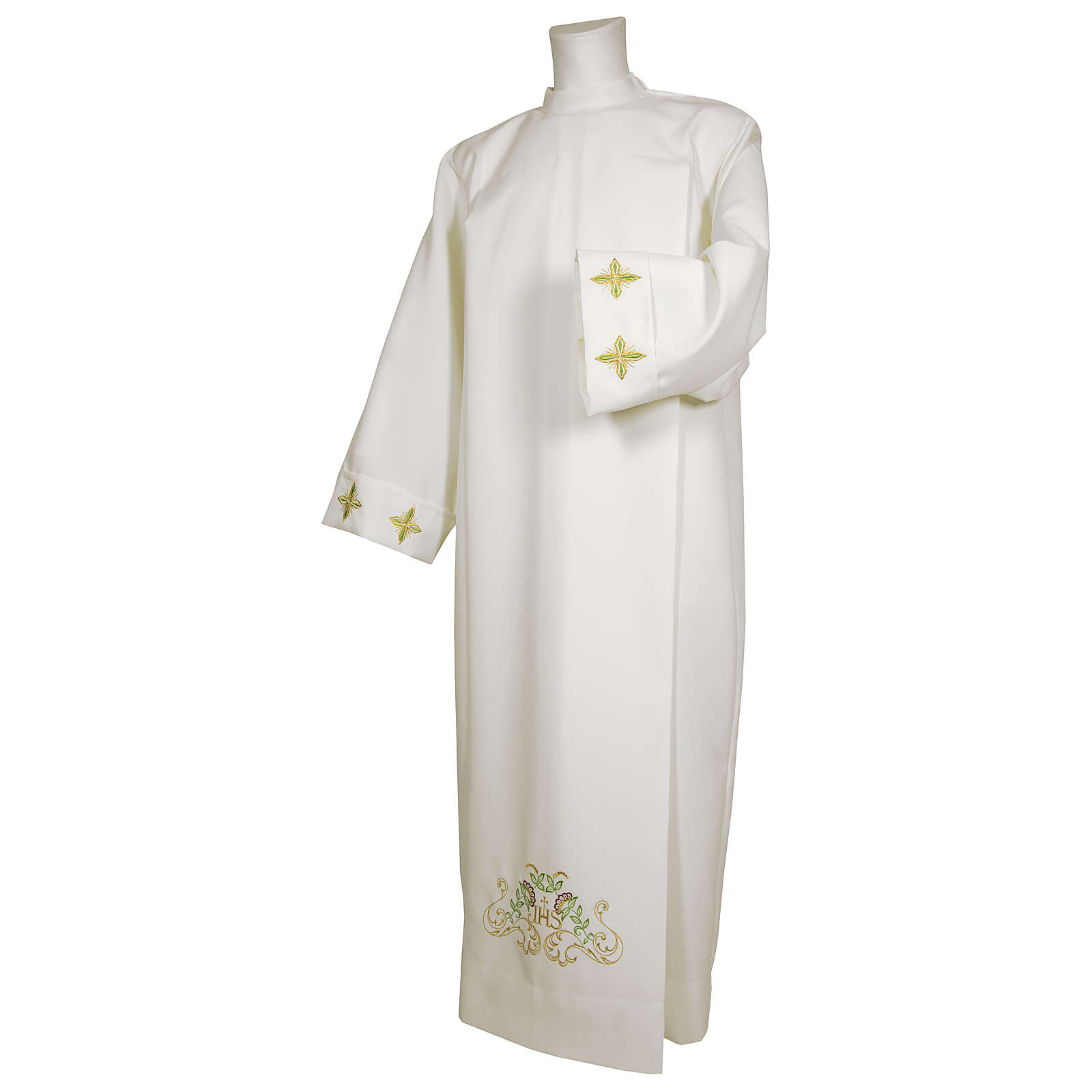 White alb 65% polyester 35% cotton with cross, flower decorations and zip on the front 4