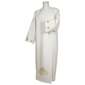 White alb 65% polyester 35% cotton with cross, flower decorations and zip on the front s1
