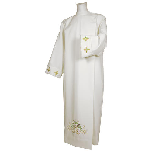 White alb 65% polyester 35% cotton with cross, flower decorations and zip on the front 1